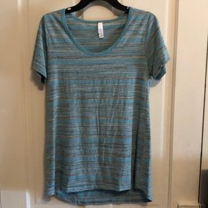 Lularoe striped Perfect Tee Aqua and gray